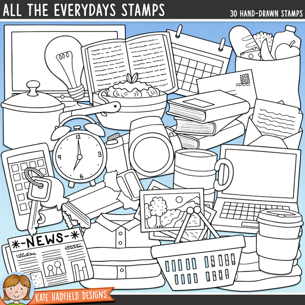 Outline versions of my All the Everydays doodles, this stamp pack contains the same doodles in three different formats: black outline png, black outline filled with white png (as shown in the preview) and a new bolder outline version for working on a smaller scale. Digital stamps are perfect for creating colouring sheets, cards and other hybrid projects as well as for stamping on your digital scrapbooking pages!A colourful collection celebrating all the little details of everyday life that's perfect for accenting your P365 pages, creating chore charts and for all your everyday scrapping! Contain the following hand drawn doodles: alarm clock, open book, pile of books, calendar, camera, chocolate bar, groceries in bag, 2 hearts, keys, laptop computer, 2 piles of folded laundry, letter, envelope, lightbulb, mug, musical notes, newspaper, bowl of pasta, pencil, photos, saucepan, shopping bag, shopping basket, smartphone, take-out cup and TV.Coordinates with the Everyday Extras doodles, Everydays Journalers and Big Everydays Journalers. Also available as part of the Everydays Bundle!FOR PERSONAL & EDUCATIONAL USE (please see myTerms of Usefor more information)