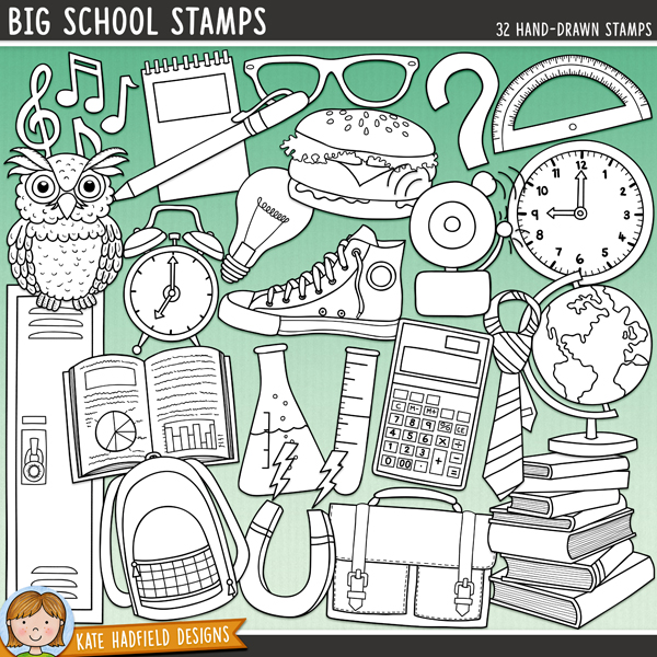 Outlined versions of my Big School doodles, this stamp pack contains the same doodles in three different formats: black outline png, black outline filled with white png (as shown in the preview) and a new bolder outline version for working on a smaller scale. Digital stamps are perfect for creating colouring sheets, cards and other hybrid projects as well as for stamping on your digital scrapbooking pages!The companion pack to my Little School doodles, Big School celebrates those more serious school days with bigger backpacks, weightier books and all that homework! Contains the following hand drawn stamps: alarm clock, alarm, backpack, book, burger, calculator, clock, compasses, flask, glasses, globe, light bulb, locker, magnet, molecule, musical notes, notebook, owl, 2 paper planes, pen, pencil, pie-chart, protractor, question mark, ruler, satchel, set square, sneaker, test tube and 2 school ties.Also contains versions of both the alarm clock and clock with no hands, along with individual hand illustrations to allow you to create clocks displaying different times. FOR PERSONAL & EDUCATIONAL USE (please see my Terms of Use for more information)