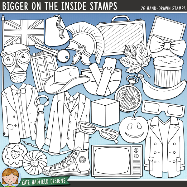 Outlined versions of my Bigger on the Inside doodles, this stamp pack contains the same doodles in three different formats: black outline png, black outline filled with white png (as shown in the preview) and a new bolder outline version for working on a smaller scale. Digital stamps are perfect for creating colouring sheets, cards and other hybrid projects as well as for stamping on your digital scrapbooking pages! Contains the following hand drawn stamps: 3D glasses, apple, banana, bow tie, crack, cube, bowl of custard, diary, 2 fezzes, 2 fishfingers, British flag, gas mask, glasses, 2 hearts, 2 jam biscuits, key, leaf, 3 outfits, paper, roman helmet, shoe, soufflé, Stetson, suitcase, tally marks, tie, TV and fob watch.FOR PERSONAL / LIMITED S4H USE (please see my Terms of Use for more information)