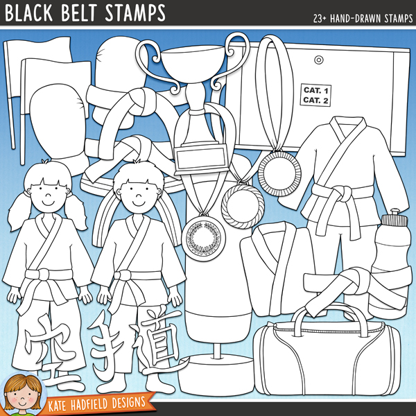 Outlined versions of my Black Belt doodles, this stamp pack contains the same doodles in three different formats: black outline png, black outline filled with white png (as shown in the preview) and a new bolder outline version for working on a smaller scale. Digital stamps are perfect for creating colouring sheets, cards and other hybrid projects as well as for stamping on your digital scrapbooking pages!	The perfect doodle pack for karate kids and martial artists! Contains the following hand drawn doodles: belts in the following colours: black, blue, brown, green, orange, purple, purple and white stripes, red, white and yellow; boy and girl, blue flag and red flag, shin and foot pads, Gi (with and without belt), folded Gi, sports holdall, Karate symbols, gold, silver and bronze medals, red and blue mitts, punch bag, scoreboard (with separate numbers and symbols), trophy and water bottle. 	Co-ordinates with my Karate Kids doodles!FOR PERSONAL & EDUCATIONAL USE (please see my Terms of Use for more information)