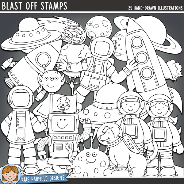 Outline versions of my Blast Off doodles, this stamp pack contains the same doodles in three different formats: black outline png, black outline filled with white png (as shown in the preview) and a new bolder outline version for working on a smaller scale. Digital stamps are perfect for creating colouring sheets, cards and other hybrid projects as well as for your stamping on your digital scrapbooking pages!Blast Off is a fun set of hand drawn doodles that are - wait for it - out of this world! Perfect for recording your little astronaut's imaginative adventures or trips to the planetarium, Blast Off contains the following doodles: 2 aliens; space dog; 3 astronauts; 2 astronaut boys; 2 astronaut girls; comet; 2 UFOs / flying saucers; planets Earth, Jupiter, Mars and Saturn; moon; lunar landscape; meteor; robot and 2 rockets (each supplied in versions with and without blast off flames!).Also includes cutout versions of the astronauts, rockets and flying saucers to include transparent sections (perfect for adding a photograph!). The astronauts have alternative versions with transparent helmets, the rockets and flying saucers have alternative versions with transparent windows.FOR PERSONAL & EDUCATIONAL USE (please see myTerms of Usefor more information)