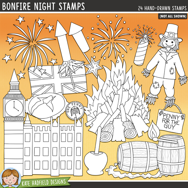 Outlined versions of my Bonfire Night doodles, this stamp pack contains the same doodles in three different formats: black outline png, black outline filled with white png (as shown in the preview) and a new bolder outline version for working on a smaller scale. Digital stamps are perfect for creating colouring sheets, cards and other hybrid projects as well as for stamping on your digital scrapbooking pages!	 	Bonfire Night is one of my favourite British celebrations and one that conjures up memories of family evenings snuggled together and wrapped up warm to watch the fireworks (whilst munching on toffee apples)! This hand drawn doodle pack contains the following doodles: 2 barrels of gunpowder, gunpowder trail, bonfire, firecracker, 4 exploding fireworks, flame, guy, Houses of Parliament, jacket potato in foil, lit match, penny, Penny for the Guy sign, 2 rockets, steam, toffee apple, Union Jack flag, and 3 wordarts for the Remember, remember the 5th of November rhyme.	 FOR PERSONAL & EDUCATIONAL USE (please see my Terms of Use for more information)