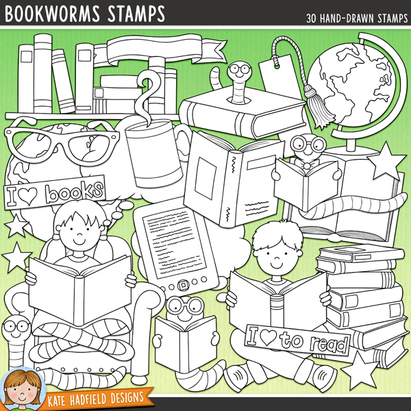 Outlined versions of my Bookworms doodles, this stamp pack contains the same doodles in three different formats: black outline png, black outline filled with white png (as shown in the preview) and a new bolder outline version for working on a smaller scale. Digital stamps are perfect for creating colouring sheets, cards and other hybrid projects as well as for stamping on your digital scrapbooking pages!	Bookworms was inspired by one of my most favourite hobbies: losing myself in a good book! Part of the March '13 BYOC collection, Bookworms contains the following hand drawn doodles: banner, 2 books, pile of books, bookmark, bookshelf, 5 bookworms, boy reading, girl reading, armchair, e-reader, 2 pairs of glasses, globe, heart, 2 imagination bubbles, mug and steam, 3 stars, world and three wordy-bits strips: I love books, I love reading and I love to read.FOR PERSONAL & EDUCATIONAL USE (please see my Terms of Use for more information)