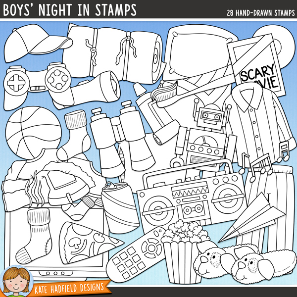 Outline versions of my Boys' Night In doodles, this stamp pack contains the same doodles in three different formats: black outline png, black outline filled with white png (as shown in the preview) and a new bolder outline version for working on a smaller scale. Digital stamps are perfect for creating colouring sheets, cards and other hybrid projects as well as for stamping on your digital scrapbooking pages!It's the boys' turn for a slumber party! Perfect for adding a touch of hand-drawn whimsy to your slumber party layouts and invitations, Boys' Night In contains the following doodles: basketball, binoculars, boombox, baseball cap, DVD case and disk, games controller, musical notes, paper plane, pile of clothes, pillow, pizza slice, pyjama top and bottoms, box of popcorn, TV and remote control, toy robot, 2 sleeping bags, dog slipper, 3 socks (including 2 smelly sock!), can of soda, toothbrush and toothpaste and torch. Also contains the following wordy-bit wordstrips: all-night, up all night, ghost stories, go to sleeeep!, midnight feast, movie time, no girls allowed, pillow fight, pranks and video games.FOR PERSONAL & EDUCATIONAL USE (please see myTerms of Usefor more information)