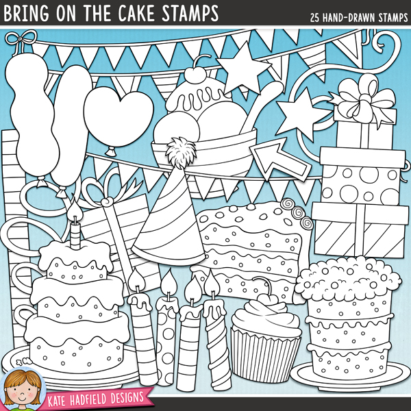 Outline versions of my Bring On the Cake doodles, this stamp pack contains the same doodles in three different formats: black outline png, black outline filled with white png (as shown in the preview) and a new bolder outline version for working on a smaller scale. Digital stamps are perfect for creating colouring sheets, cards and other hybrid projects as well as for stamping on your digital scrapbooking pages!Pack of celebratory doodles originally from the 3K's (Karah, Kaye & Kate!) Bring on the Cake collaboration kit! Contains the following hand-drawn doodles: 2 arrows, 3 balloons, 2 strips of bunting, 2 birthday cakes, 4 candles, confetti, cupcake, doodle strip, 1 gift, 1 pile of gifts, ice cream in bowl, party hat, slice of cake, 2 stars and 3 streamers.FOR PERSONAL & EDUCATIONAL USE (please see myTerms of Usefor more information)
