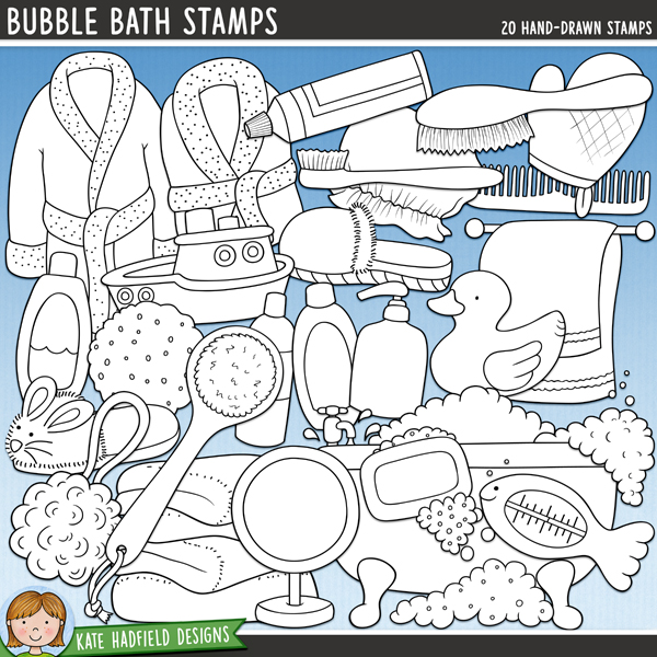 Outline versions of my Bubble Bath doodles, this stamp pack contains the same doodles in three different formats: black outline png, black outline filled with white png (as shown in the preview) and a new bolder outline version for working on a smaller scale. Digital stamps are perfect for creating colouring sheets, cards and other hybrid projects as well as for stamping on your digital scrapbooking pages!Splish, splash - it's bath time! Perfect for recording all those watery moments from your little one's first ever bath, a favourite bath toy to making bubble bath beards, Bubble Bath contains the following hand drawn doodles: back brush, 3 bubble doodles, 2 bath robes, bath tub, 3 bottles, comb, bath frilly, hairbrush, hand soap, mirror, rubber ducky, shower cap, 2 slippers, soap, 2 splashes, sponge, thermometer, toothbrush, toothpaste, pile of towels, towel rail, toy boat and wash mit.FOR PERSONAL & EDUCATIONAL USE (please see myTerms of Usefor more information)