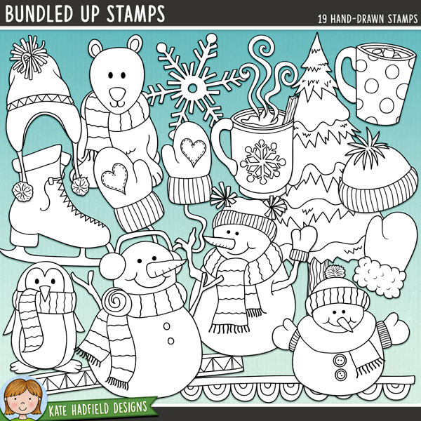 Outline versions of my Bundled Up doodles, this stamp pack contains the same doodles in three different formats: black outline png, black outline filled with white png (as shown in the preview) and a new bolder outline version for working on a smaller scale. Digital stamps are perfect for creating colouring sheets, cards and other hybrid projects as well as for stamping on your digital scrapbooking pages!	Steaming hot cocoa, snowball fights, warm woollen mittens and carrot-nosed snowmen – that's what this pack is made of! Contains the following hand-drawn wintery doodles: 2 doodle strips, 2 woolly hats, 2 mugs of hot chocolate, steam, mitten, pair of mittens, penguin, polar bear, ice skate, 3 snowflakes, 3 snowmen and snowy tree.FOR PERSONAL & EDUCATIONAL USE (please see my Terms of Use for more information)