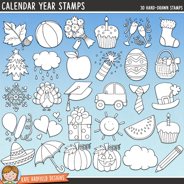 Outline versions of my Calendar Year doodles, this stamp pack contains the same doodles in three different formats: black outline png, black outline filled with white png (as shown in the preview) and a new bolder outline version for working on a smaller scale. Digital stamps are perfect for creating colouring sheets, cards and other hybrid projects as well as for stamping on your digital scrapbooking pages!	A fun pack of calendar and seasonal doodles that are perfect for your year in review pages and hybrid calendar projects! Contains the following hand drawn doodles (each sized at approx 3 inches): autumn leaf and acorn; beach ball; bouquet of flowers (versions with and without Mum / Mom and Mother tags for Mother's Day); New Year or anniversary champagne glasses; Christmas stocking; Christmas tree; Cinco de Mayo sombrero; cloud with rain; dark cloud; 2 birthday cupcakes; day trip car; Easter basket; Easter egg; Father's Day tie; 4th July / Bonfire Night firework; gift; graduation cap; party balloons; Halloween jack-o-lantern pumpkin; pumpkin; school apple; school pencil; snowflake; St Patrick's Day hat; sun (versions with and without smiley face included!); Thanksgiving turkey; umbrella;  Valentine's / anniversary hearts and watermelon slice.FOR PERSONAL & EDUCATIONAL USE (please see my Terms of Use for more information)