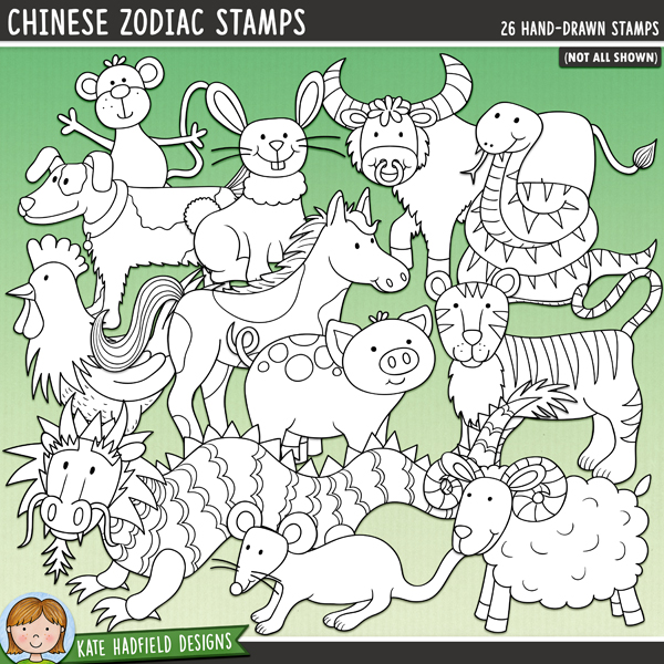 Outline versions of my Chinese Zodiac doodles, this stamp pack contains the same doodles in three different formats: black outline png, black outline filled with white png (as shown in the preview) and a new bolder outline version for working on a smaller scale. Digital stamps are perfect for creating colouring sheets, cards and other hybrid projects as well as for stamping on your digital scrapbooking pages!This pack was created after a request from a very special customer! Celebrationg the traditions of the Chinese Zodiac and Chinese New Year, this doodle set contains the following hand-drawn doodles: 12 black Chinese symbols (one for each animal) and a circular red symbol background, dog, dragon, horse, 2 monkeys, ox, pig, rabbit, rat, rooster, sheep / ram, snake and tiger.FOR PERSONAL & EDUCATIONAL USE (please see myTerms of Usefor more information)