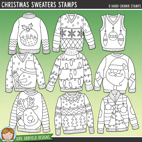 Outlined versions of my Christmas Sweaters doodles, this stamp pack contains the same doodles in three different formats: black outline png, black outline filled with white png (as shown in the preview) and a new bolder outline version for working on a smaller scale. Digital stamps are perfect for creating colouring sheets, cards and other hybrid projects as well as for stamping on your digital scrapbooking pages!A selection of colourful, characterful Christmas sweater doodles inspired by Christmas Jumper Day (and ugly Christmas sweater parties!!). Contains the following sweater designs: baubles, lights, Christmas pudding, reindeer, Santa, snowflakes, snowman, Christmas tree and Christmas tree pattern.FOR PERSONAL & EDUCATIONAL USE (please see myTerms of Usefor more information)
