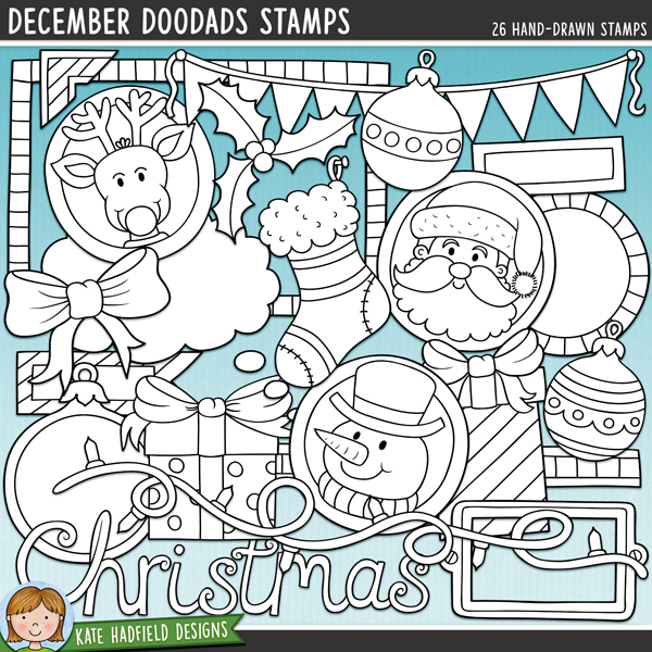 Outline versions of my December Doodads doodles, this stamp pack contains the same doodles in three different formats: black outline png, black outline filled with white png (as shown in the preview) and a new bolder outline version for working on a smaller scale. Digital stamps are erfect for creating colouring sheets, cards and other hybrid projects as well as for your stamping on your digital scrapbooking pages!December Doodads is full of all sorts of fun doodled pieces to help you record all your December memories! Included are plenty of journalling pieces along with cute character and themed doodles to add a touch of hand drawn whimsy to your December and Christmas pages and projects! Contains the following hand drawn doodles: 2 baubles, 2 bauble journal spots, bookplate, bow, bunting, Christmas wordart, doodle strip, frame, 2 gifts, holly, 3 journal spots, 2 tags, fairy lights, photo corner, reindeer, Santa, snowman, speech bubble, stocking and thought bubble. Also contains the following wordy-bits: bell, Christmas, decorations, holly, jolly, joy, merry, presents, stocking, tree.FOR PERSONAL & EDUCATIONAL USE (please see myTerms of Usefor more information)