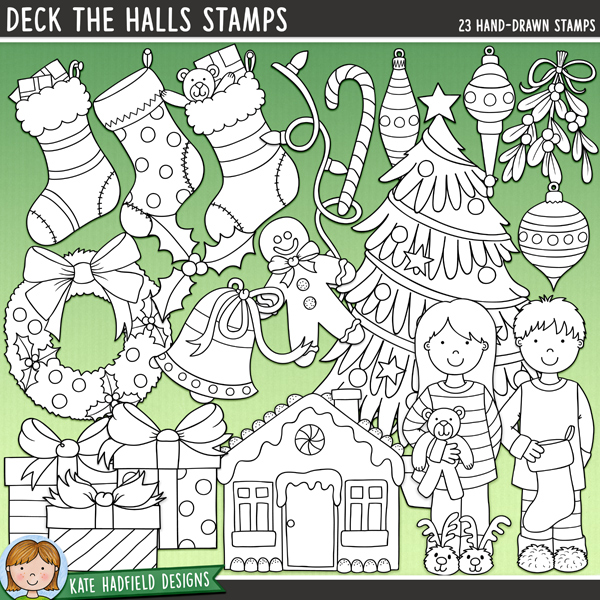 Outline versions of my Deck the Halls doodles, this stamp pack contains the same doodles in three different formats: black outline png, black outline filled with white png (as shown in the preview) and a new bolder outline version for working on a smaller scale. Digital stamps are perfect for creating colouring sheets, cards and other hybrid projects as well as for stamping on your digital scrapbooking pages!From the pyjamas to stockings and gifts to gingerbread houses, Deck the Halls is packed with Christmas fun (and LOADS of festive cheer!) Contains the following hand drawn doodles: 4 baubles and 3 hangers, bell, candy cane, Christmas tree, string of lights, 3 gifts, gingerbread house, gingerbread man, holly sprig, mistletoe, boy and girl in Christmas pyjamas, wreath, 3 stockings and joy and noel word doodles. Also contains the following wordy-bits: baubles, bell, Christmas, decorate, decorating, decorations, fairy lights, garland, gingerbread, holly, magic, sparkle, stocking, the, tinsel, tree, trim, trimming, twinkle lights and wreath.FOR PERSONAL & EDUCATIONAL USE (please see myTerms of Usefor more information)