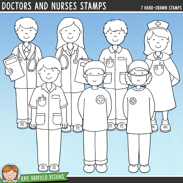 Outline versions of my Doctors and Nurses doodles, this stamp pack contains the same doodles in three different formats: black outline png, black outline filled with white png (as shown in the preview) and a new bolder outline version for working on a smaller scale. Digital stamps are perfect for creating colouring sheets, cards and other hybrid projects as well as for stamping on your digital scrapbooking pages!	Doctors and Nurses is the companion pack to my Doctor Doctor and Bruises and Breaks sets! Contains the following hand-drawn doodles: two doctors in white coats, two nurses in blue uniforms, nurse in traditional uniform, two surgeons in scrubs. FOR PERSONAL & EDUCATIONAL USE (please see my Terms of Use for more information)