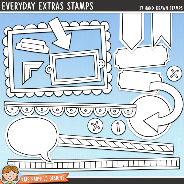 Outline versions of my Everyday Extras doodles, this stamp pack contains the same doodles in three different formats: black outline png, black outline filled with white png (as shown in the preview) and a new bolder outline version for working on a smaller scale. Digital stamps are perfect for creating colouring sheets, cards and other hybrid projects as well as for stamping on your digital scrapbooking pages!	An add-on pack to my All the Everydays doodles full of those little bits and pieces that help you put the finishing touches to your pages and projects! Contains the following hand-drawn doodles: 2 arrows, 2 banner labels, bookplate, 2 buttons, circular journal spot, 3 doodle strips, file tab, frame, 2 labels, photo-corner and speech bubble. Coordinates with the All the Everydays doodles, Everydays Journalers and Big Everydays Journalers.FOR PERSONAL & EDUCATIONAL USE (please see my Terms of Use for more information)