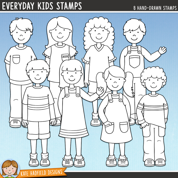 Outline versions of my Everyday Kids doodles, this stamp pack contains the same doodles in three different formats: black outline png, black outline filled with white png (as shown in the preview) and a new bolder outline version for working on a smaller scale. Digital stamps are perfect for creating colouring sheets, cards and other hybrid projects as well as for stamping on your digital scrapbooking pages!A collection of cute everyday kids that's perfect for creating greetings cards, hybrid projects and more! Contains 8 kids as pictured, 4 boys and 4 girls.FOR PERSONAL & EDUCATIONAL USE (please see myTerms of Usefor more information)