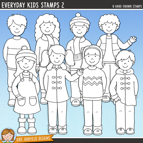 Outline versions of myEveryday Kids 2doodles, this stamp pack contains the same doodles in three different formats: black outline png, black outline filled with white png (as shown in the preview) and a new bolder outline version for working on a smaller scale. Digital stamps are perfect for creating colouring sheets, cards and other hybrid projects as well as for stamping on your digital scrapbooking pages!A collection of cute everyday kids all dressed up ready for cooler weather! This set is perfect for creating greetings cards, hybrid projects and more! Contains 8 kids as pictured, 4 boys and 4 girls.FOR PERSONAL & EDUCATIONAL USE (please see myTerms of Usefor more information)