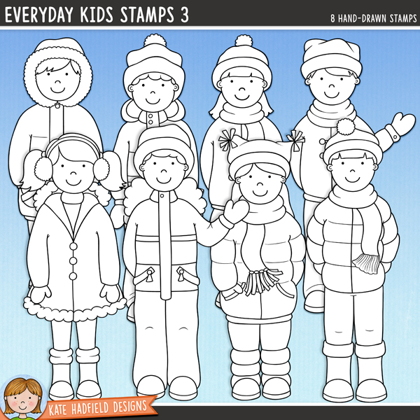 Outline versions of my Everyday Kids 3 doodles, this stamp pack contains the same doodles in three different formats: black outline png, black outline filled with white png (as shown in the preview) and a new bolder outline version for working on a smaller scale. Digital stamps are perfect for creating colouring sheets, cards and other hybrid projects as well as for stamping on your digital scrapbooking pages!A collection of cute everyday kids all wrapped up and ready for some winter fun! This set is perfect for creating greetings cards, hybrid projects and more! Contains 8 kids as pictured, 4 boys and 4 girls.FOR PERSONAL & EDUCATIONAL USE (please see my Terms of Use for more information)