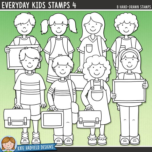 Outline versions of myEveryday Kids 4doodles, this stamp pack contains the same doodles in three different formats: black outline png, black outline filled with white png (as shown in the preview) and a new bolder outline version for working on a smaller scale. Digital stamps are perfect for creating colouring sheets, cards and other hybrid projects as well as for stamping on your digital scrapbooking pages!A collection of cute everyday kids all ready for school with their backpacks and lunch boxes! Contains 8 kids as pictured, 4 boys and 4 girls.Co-ordinates with myFirst Day Of School illustrations!FOR PERSONAL & EDUCATIONAL USE (please see myTerms of Usefor more information)