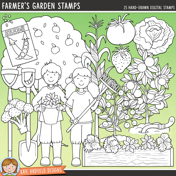 Outline versions of my Farmer's Garden doodles,this stamp pack contains the same doodles in three different formats: black outline png, black outline filled with white png (as shown in the preview) and a new bolder outline version for working on a smaller scale. Digital stamps are perfect for creating colouring sheets, cards and other hybrid projects as well as for stamping on your digital scrapbooking pages!Farmer's Garden is dedicated to all the tireless gardeners out there busy tending their vegetable patches and fruit gardens! Contains the following hand drawn illustrations: apple tree, blueberry plant, boy and girl gardeners, broccoli, carrot, hoe, lettuce, orange tree, pumpkin, rake, 2 seedlings, seed packet and seeds, soil, spade / shovel, strawberry, strawberry plant, sweetcorn plant, tomato, raised vegetable bed, watering can, 2 worms.FOR PERSONAL & EDUCATIONAL USE (please see myTerms of Usefor more information)