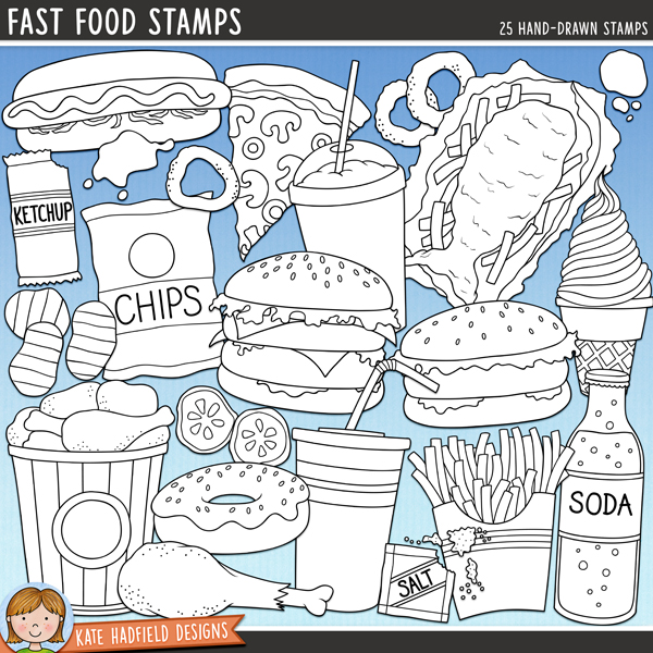 Outline versions of my Fast Food doodles, this stamp pack contains the same doodles in three different formats: black outline png, black outline filled with white png (as shown in the preview) and a new bolder outline version for working on a smaller scale. Digital stamps are perfect for creating colouring sheets, cards and other hybrid projects as well as for stamping on your digital scrapbooking pages!A collection of tasty (if not very healthy!) fast food doodles! Fast Food contains the following hand drawn doodles: 2 burgers, chicken drumstick, bucket of chicken, bag of chips / crisps (both versions included!), several loose chips / crisps, iced donut, drink, fish and chips, box of fries, loose fries, 2 gherkin slices, hot dog, ice cream cone, ketchup sachet, ketchup and mustard splats, milkshake, 3 onion rings, pizza slice, sachet of salt, bottle of soda and wooden fork.FOR PERSONAL & EDUCATIONAL USE (please see myTerms of Usefor more information)