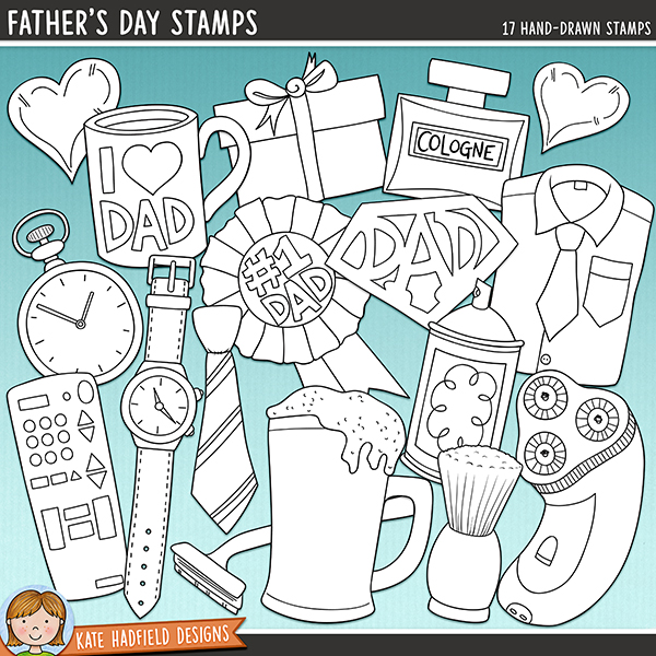 Outlined versions of my Father's Day doodles, this stamp pack contains the same doodles in three different formats: black outline png, black outline filled with white png (as shown in the preview) and a new bolder outline version for working on a smaller scale. Digital stamps are perfect for creating colouring sheets, cards and other hybrid projects as well as for stamping on your digital scrapbooking pages!	 	Celebrate fatherhood with this doodle pack dedicated to all things, Dad! Contains the following hand drawn doodles: coffee mug (with and without the I heart Dad lettering), bottle of cologne, electric shaver, fob watch, shirt and tie, gift, heart, pint of beer, razor, remote control, number one dad rosette, shaving brush and cream, SuperDad logo, tie and wristwatch.	 FOR PERSONAL & EDUCATIONAL USE (please see my Terms of Use for more information)