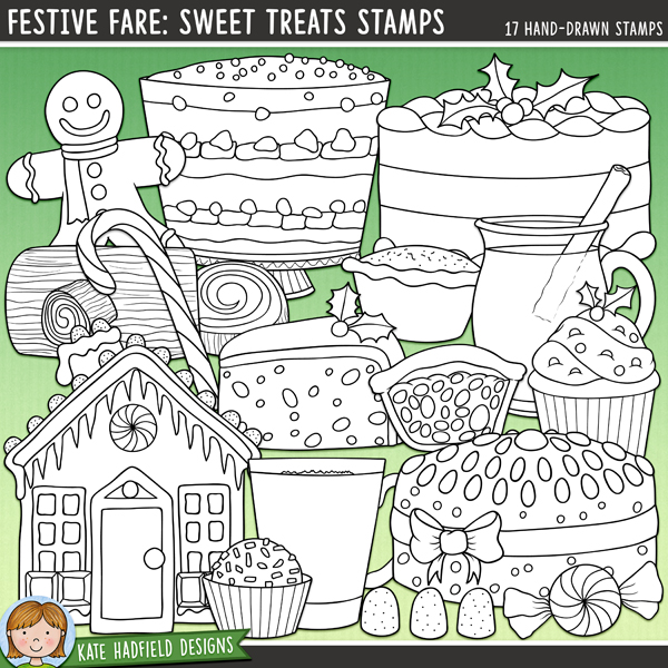 Outline versions of my Festive Fare: Sweet Treats doodles, this stamp pack contains the same doodles in three different formats: black outline png, black outline filled with white png (as shown in the preview) and a new bolder outline version for working on a smaller scale. Perfect for creating colouring sheets, cards and other hybrid projects as well as for your stamping on your digital scrapbooking pages!	Following on from my original Festive Fare doodles, this pack is full of some of my all-time favourite festive food: the sweets!! Contains the following hand drawn doodles: candy cane, chocolate, Christmas cake, cupcake, eggnog, fruitcake, gingerbread house, gingerbread man, gumdrops, 2 mince pies, glass of mulled wine and steam, peppermint, slice of cake, trifle and yule log.FOR PERSONAL & EDUCATIONAL USE (please see my Terms of Use for more information)