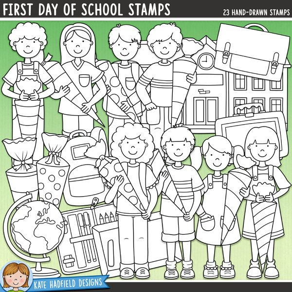 Starting school digital stamps! Hand-drawn illustrations for digital scrapbooking, crafting and teaching resources from Kate Hadfield Designs.