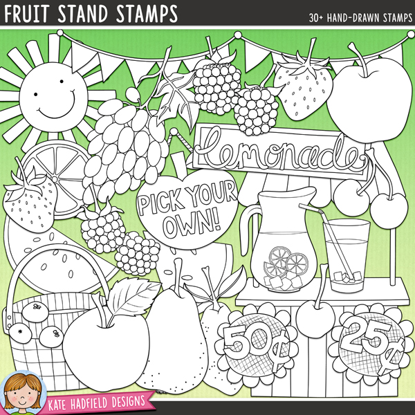 Outline versions of my Fruit Stand doodles, this stamp pack contains the same doodles in three different formats: black outline png, black outline filled with white png (as shown in the preview) and a new bolder outline version for working on a smaller scale. Digital stamps are perfect for creating colouring sheets, cards and other hybrid projects as well as for stamping on your digital scrapbooking pages!A selection of tasty, mouth watering fruits with a cold refreshing glass of lemonade - all the tastes of summer are right here in this pack! Contains the following hand drawn doodles: 2 apples, 2 baskets, 2 blackberries, 3 blueberries, bunting, 2 cherries, bunch of grapes, lemon, 2 glasses of lemonade, jug of lemonade, 2 lemonade signs, lemonade stand, 2 lemon slices, pear, pick your own sign, 2 raspberries, 25c and 50c signs, 2 strawberries, sun, and 2 watermelon slices.FOR PERSONAL & EDUCATIONAL USE (please see myTerms of Usefor more information)