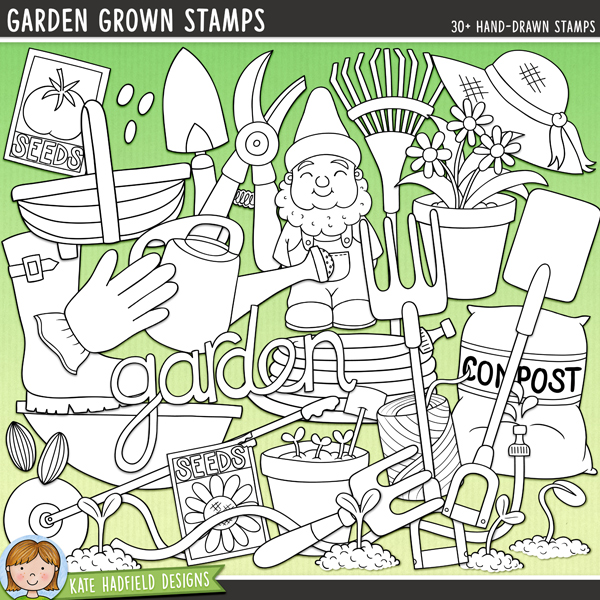 Outline versions of my Garden Grown doodles,this stamp pack contains the same doodles in three different formats: black outline png, black outline filled with white png (as shown in the preview) and a new bolder outline version for working on a smaller scale. Digital stamps are perfect for creating colouring sheets, cards and other hybrid projects as well as for stamping on your digital scrapbooking pages!A collection of hand drawn doodles that are perfect for all the green-fingers gardeners out there! Garden Grown contains the following hand-drawn doodles: bag of compost, 3 flowerpots, small fork, large fork, 'garden' wordart, string, glove, gnome, hat, 2 hoses, 2 plant markers, rake, secateurs, 3 seedlings, 2 packets of seeds, 3 sets of seeds, spade, trowel, garden trug, watering can and water drips, welly boot and wheelbarrow.FOR PERSONAL & EDUCATIONAL USE (please see myTerms of Usefor more information)