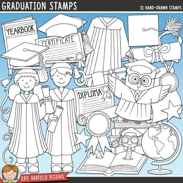Line art versions of my Graduation doodles, this stamp pack contains the same illustrations in three different formats: black outline png, black outline filled with white png (as shown in the preview) and a new bolder outline version for working on a smaller scale. Digital stamps are perfect for creating colouring sheets, cards and other hybrid projects as well as for stamping on your digital scrapbooking pages! Graduation contains the following hand drawn illustrations: 3 balloons, pile of books, bookworm in book, 4 graduation caps, certificate (text-free version included), diploma (text-free version included), globe, gown, graduate boy and graduate girl, 2 keys, medal, owl, rosette, 2 scrolls, 3 stars, 4 streamers, tassel and yearbook (text-free version included).FOR PERSONAL & EDUCATIONAL USE (please see myTerms of Usefor more information)