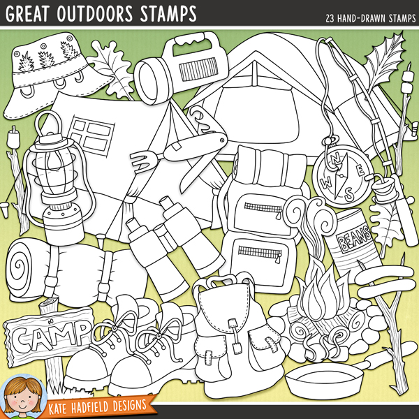 Outlined versions of my Great Outdoors doodles, this stamp pack contains the same doodles in three different formats: black outline png, black outline filled with white png (as shown in the preview) and a new bolder outline version for working on a smaller scale. Digital stamps are perfect for creating colouring sheets, cards and other hybrid projects as well as for stamping on your digital scrapbooking pages!	A fun set of outdoorsy camping doodles perfect for recording all your camping, fishing or hiking adventures in the great outdoors! Contains the following hand drawn doodles: binoculars, boot, camp-fire, compass, fishing hat, fishing rod, lamp, 2 leaves, marshmallows on sticks, 2 x rucksacks, pan, penknife, sausages on sticks, camp (and blank) sign, sleeping bag, smoke, 2 x tents, can of beans, torch and water canteen.FOR PERSONAL & EDUCATIONAL USE (please see my Terms of Use for more information)