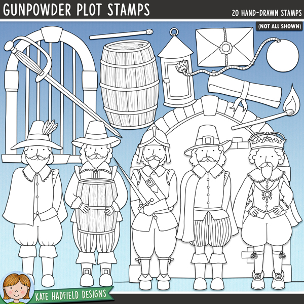 A collection of doodles related to the infamous Gunpowder Plot of 1605! Outlined versions of my Gunpowder Plot doodles, this stamp pack contains the same doodles in three different formats: black outline png, black outline filled with white png (as shown in the preview) and a new bolder outline version for working on a smaller scale. Digital stamps are perfect for creating colouring sheets, cards and other hybrid projects as well as for stamping on your digital scrapbooking pages!	Contains the following hand drawn doodles: cellar arch, 2 conspirators (one carrying a barrel), fuse, pile of gunpowder, 2 barrels, Guy Fawkes, Robert Catesby, Houses of Parliament, King James (2 versions, one with crown, on e with hat) lantern, letter, 2 matches, scroll, soldier, sword (with and without scabbard) Tower of London window (4 versions to allow you to layer the doodles to create your own scene).FOR PERSONAL & EDUCATIONAL USE (please see my Terms of Use for more information)
