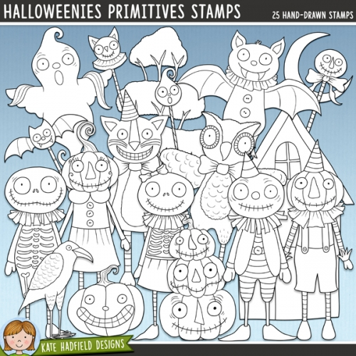Halloweenies Primitives Stamps