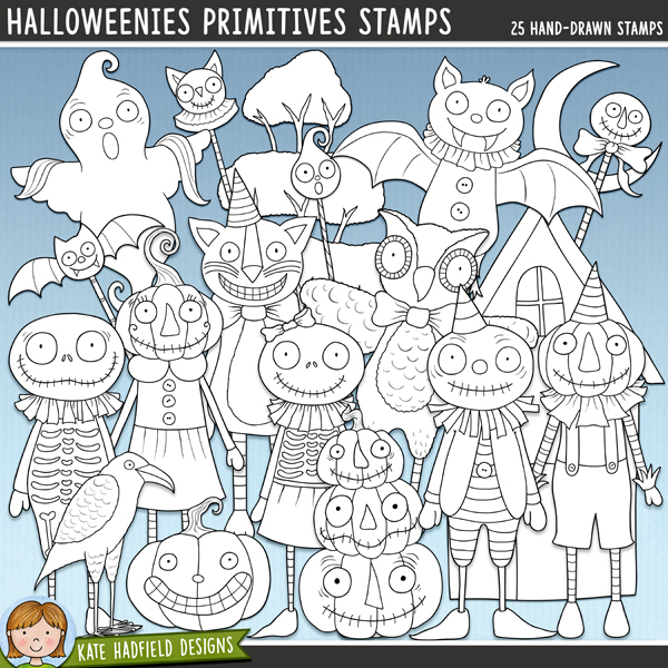 Outlined versions of my Halloweenies: Primitives doodles, this stamp pack contains the same doodles in three different formats: black outline png, black outline filled with white png (as shown in the preview) and a new bolder outline version for working on a smaller scale. Digital stamps are perfect for creating colouring sheets, cards and other hybrid projects as well as for stamping on your digital scrapbooking pages!Contains the following hand-drawn stamps: bat doll, bat staff, cat doll, cat staff, crow, ghost doll (2 versions), ghost staff, 2 hats, 2 houses, moon, owl doll, pumpkin, 2 pumpkin dolls, pumpkin hat, pumpkin stack, pumpkin staff, 2 skeleton dolls, 2 trees, witch hat, zombie doll.FOR PERSONAL & EDUCATIONAL USE (please see myTerms of Usefor more information)