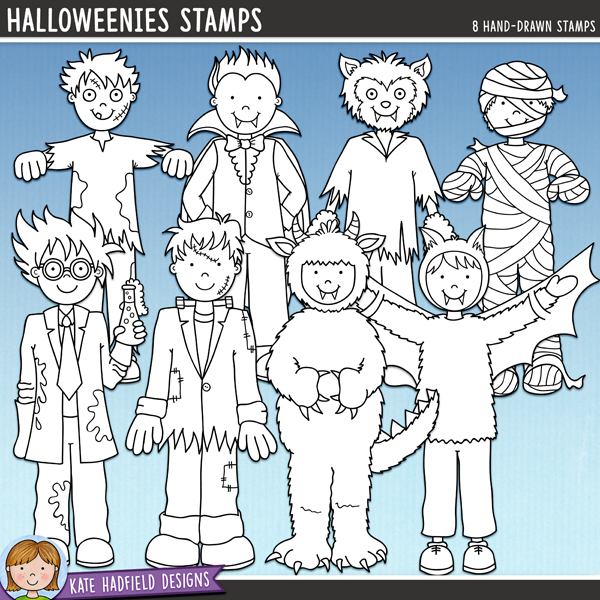 Outlined versions of my Halloweenies 1 doodles, this stamp pack contains the same doodles in three different formats: black outline png, black outline filled with white png (as shown in the preview) and a new bolder outline version for working on a smaller scale. Digital stamps are perfect for creating colouring sheets, cards and other hybrid projects as well as for stamping on your digital scrapbooking pages! Contains the following hand drawn stamps: bat, Frankenstein monster, mad scientist, monster, mummy, vampire, werewolf and zombie.FOR PERSONAL & EDUCATIONAL USE (please see myTerms of Usefor more information)