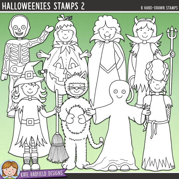 Outlined versions of myHalloweenies 2 doodles, Halloweenies Stamps 2 contains the same doodles in three different formats: black outline png, black outline filled with white png (as shown in the preview) and a new bolder outline version for working on a smaller scale. Digital stamps are perfect for creating colouring sheets, cards and other hybrid projects as well as for stamping on your digital scrapbooking pages! Contains the following hand drawn stamps: black cat, devil, ghost, bride of Frankenstein, pumpkin, skeleton, vampire and witch.FOR PERSONAL & EDUCATIONAL USE (please see myTerms of Usefor more information)