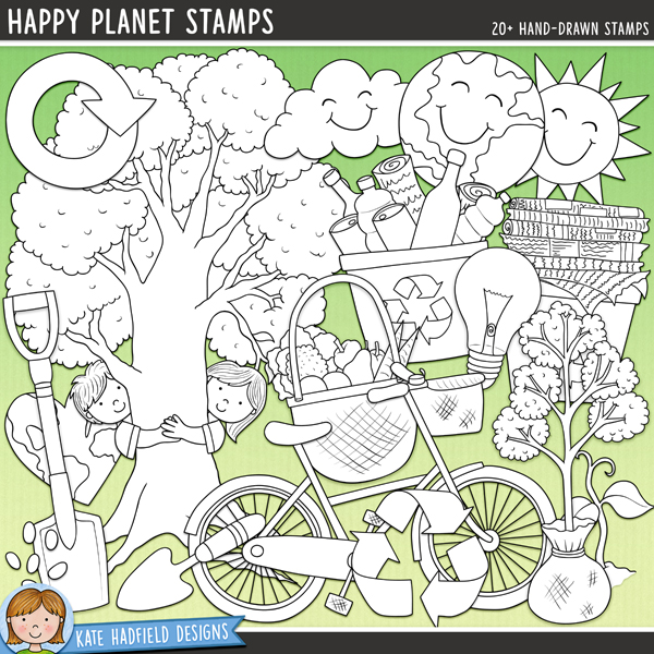 Outlined versions of my Happy Planet doodles, this stamp pack contains the same doodles in three different formats: black outline png, black outline filled with white png (as shown in the preview) and a new bolder outline version for working on a smaller scale. Digital stamps are perfect for creating colouring sheets, cards and other hybrid projects as well as for stamping on your digital scrapbooking pages!	Happy Planet is a fun collection of environmentally friendly doodles perfect for celebrating Earth Day, Arbor Day and any other 'green' projects! Contains the following hand drawn doodles: bike, light bulb, planet, happy cloud, happy planet, happy sun, 2 hearts, rain drops, recycle symbol, 2 recycling bins, reuse symbol, sapling, seedling, seeds, shopping bag, garden spade, tree (two versions, one plain and one with children hugging the trunk) and garden trowel. Also contains the following wordy-bits: arbor day; bloom and grow; earth day (2 versions); eco-friendly; fresh air; go green; 100% organic; recycle; reduce; reuse; save the planet; think green; tree hugger; upcycle and Reduce, Reuse, Recycle!FOR PERSONAL & EDUCATIONAL USE (please see my Terms of Use for more information)