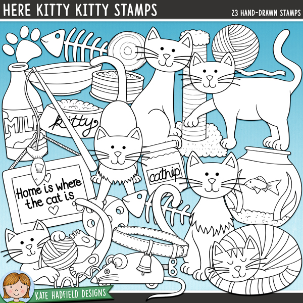 Outline versions of my Here Kitty Kitty doodles, this stamp pack contains the same doodles in three different formats: black outline png, black outline filled with white png (as shown in the preview) and a new bolder outline version for working on a smaller scale. Digital stamps are perfect for creating colouring sheets, cards and other hybrid projects as well as for stamping on your digital scrapbooking pages!Here kitty, kitty! This doodle pack is full of feline fun and is perfect for recording the antics of precious cats! Here Kitty Kitty is the companion pack toDoggie Daysand contains the following hand-drawn doodles: ball of wool, toy ball, toy mouse, 6 cats, cat food tin, catnip (also includes text-free version), collar, fish, goldfish in bowl, food bowl (also includes text-free version), bottle of milk (also includes text-free version), paw print, 'Home is where the cat is' framed picture (also includes text-free version), fishing rod toy, saucer of milk, scratching post, 'meow' and 'purr' wordart pieces.FOR PERSONAL & EDUCATIONAL USE (please see myTerms of Usefor more information)