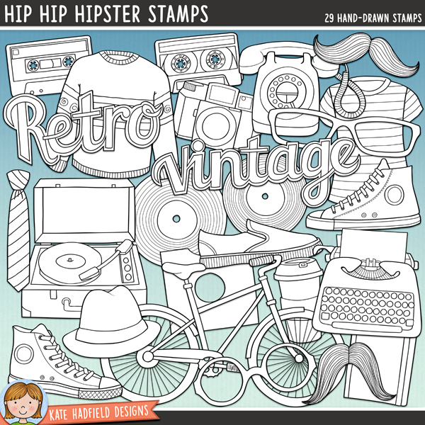 Outlined versions of my Hip Hip Hipster doodles, this stamp pack contains the same doodles in three different formats: black outline png, black outline filled with white png (as shown in the preview) and a new bolder outline version for working on a smaller scale. Digital stamps are perfect for creating colouring sheets, cards and other hybrid projects as well as for stamping on your digital scrapbooking pages!Contains the following hand drawn stamps: bike, camera, 2 cassette tapes, 3 pairs of glasses, hat, headphones, jumper, 2 mustaches, notebook, 2 records, record player, record sleeve, 3 shoes, coffee cup, telephone, tie 2 t-shirts, typewriter, waistcoast, wordarts: retro and vintage.FOR PERSONAL & EDUCATIONAL USE (please see myTerms of Usefor more information)