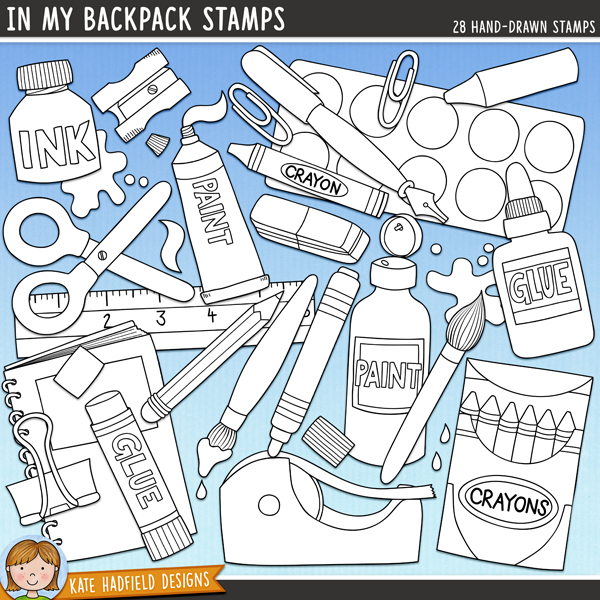 Outlined versions of my In My Backpack doodles, this stamp pack contains the same doodles in three different formats: black outline png, black outline filled with white png (as shown in the preview) and a new bolder outline version for working on a smaller scale. Digital stamps are perfect for creating colouring sheets, cards and other hybrid projects as well as for stamping on your digital scrapbooking pages!Fun pack of doodled school supplies, perfect for your little back-to-schoolers and all the crafters out there! Contains the following hand drawn doodles: bulldog clip, chunky crayon, crayon, box of crayons, eraser, glue, glue stick, ink bottle, ink drops and splat, ink pen, marker pen, notebook, paint squirt and splat, paint bottle, 2 paintbrushes, paint palette, paint tube, paper-clip, pencil, pencil case, binder file, ruler, scissors, sharpener and tape.FOR PERSONAL & EDUCATIONAL USE (please see myTerms of Usefor more information)
