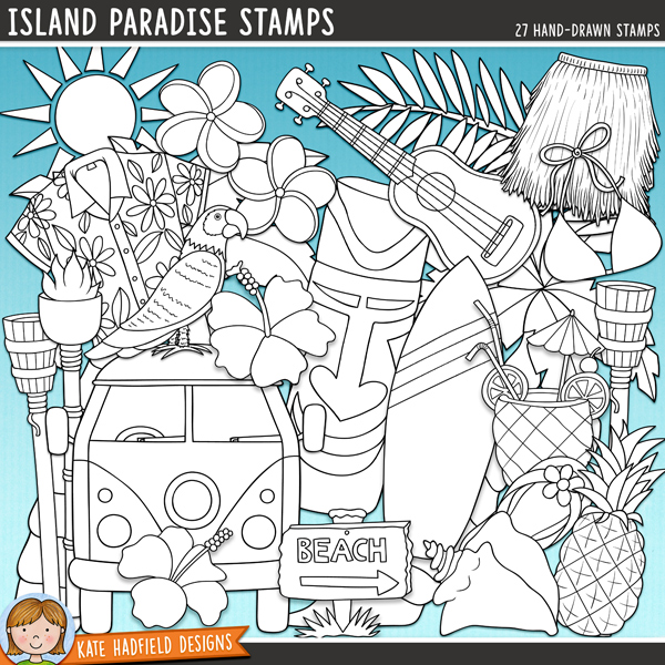 Outline versions of my Island Paradise doodles, this stamp pack contains the same doodles in three different formats: black outline png, black outline filled with white png (as shown in the preview) and a new bolder outline version for working on a smaller scale. Digital stamps are perfect for creating colouring sheets, cards and other hybrid projects as well as for stamping on your digital scrapbooking pages!As I was creating this pack I imagined palm trees gently swishing in the sea breeze, the scent of tropical flowers, hot sand between my toes, cool cocktails and the perfect surf - aahhhh, bliss!Island Paradise contains the following hand-drawn tropical doodles: beach sign (also includes a blank version with no text), bikini top, camper van, 2 coconuts, drum, 2 flip-flops, 4 flowers, grass skirt, 2 palm leaves, parrot, pineapple, shell, shirt, 2 statues, sun, surfboard, 2 torches, 2 palm trees, tropical cocktail and ukulele.FOR PERSONAL & EDUCATIONAL USE (please see myTerms of Usefor more information)