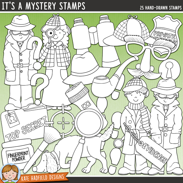 Outlined versions of my It's A Mystery doodles, It's A Mystery Stamps contains the same doodles in three different formats: black outline png, black outline filled with white png (as shown in the preview) and a new bolder outline version for working on a smaller scale. Digital stamps are perfect for creating colouring sheets, cards and other hybrid projects as well as for stamping on your digital scrapbooking pages!	 	Do you have some unexplained mysteries in your house? Maybe the Case of the Vanishing Cookies, or even the Case of the Mysteriously Appearing Mess (the one that everyone denies all knowledge of)?! Record all the mysteries and detective stories in your life with this new pack of doodles! Contains the following hand drawn doodles: detective badge, binoculars, cross-hair, deerstalker hat, boy and girl detectives, boy and spy spies, disguise, evidence tag, finger powder and brush, fingerprint, top secret folder, 2 footprints, keyhole, magnifying glass, pipe, 2 question marks, sniffer dog, spy hat and torch.	FOR PERSONAL & EDUCATIONAL USE (please see my Terms of Use for more information)