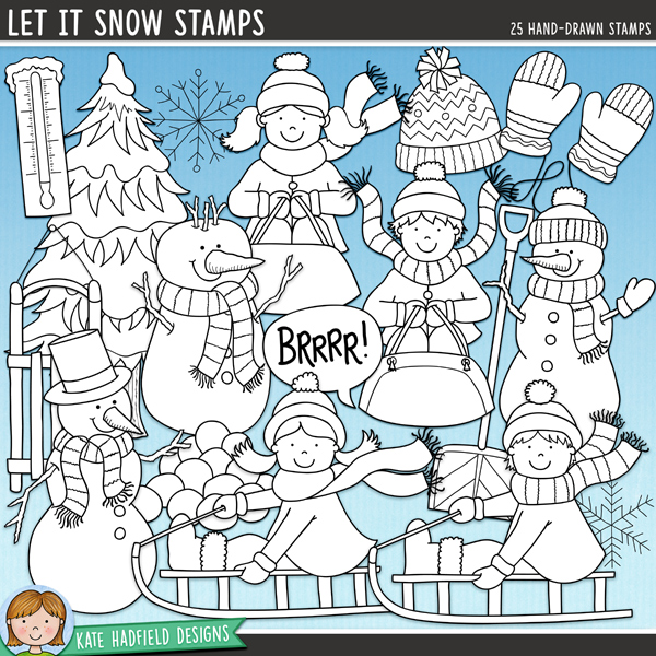 Outlined versions of my Let It Snow doodles, Let It Snow Stamps contains the same doodles in three different formats: black outline png, black outline filled with white png (as shown in the preview) and jpegs (solid white background). Perfect for creating colouring sheets, cards and other hybrid projects as well as for your stamping on your digital scrapbooking pages! Contains the following hand drawn stamps: boot, 2 boys on sledges, 2 girls on sledges, 2 bobble hats, 2 mugs of hot chocolate, pair of mittens, single mitten, scarf, shovel, sledge, snow splat, pile of snowballs, 3 individual snowballs, 2 snowflakes, 3 snowmen, Brrr! speech bubble, thermometer and snowy tree. 	 FOR PERSONAL & EDUCATIONAL USE (please see my Terms of Use for more information)