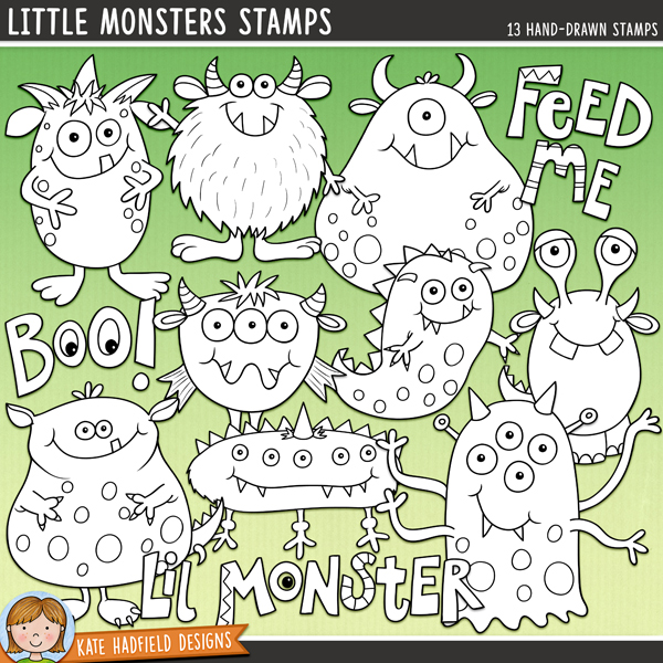 Outline versions of my Little Monsters doodles, this stamp pack contains the same doodles in three different formats: black outline png, black outline filled with white png (as shown in the preview) and a new bolder outline version for working on a smaller scale. Digital stamps are perfect for creating colouring sheets, cards and other hybrid projects as well as for stamping on your digital scrapbooking pages!	 	A fun set of colourful, friendly monsters to add some hand drawn whimsy to your pages and projects!  Contains the following hand drawn doodles: 9 monsters, slime trail, and the following word art pieces: Boo!, Feed Me and Lil' Monster.	 FOR PERSONAL & EDUCATIONAL USE (please see my Terms of Use for more information)