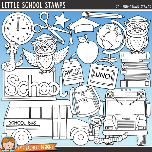 Outlined versions of my Little School doodles, this stamp pack contains the same doodles in three different formats: black outline png, black outline filled with white png (as shown in the preview) and a new bolder outline version for working on a smaller scale. Digital stamps are perfect for creating colouring sheets, cards and other hybrid projects as well as for stamping on your digital scrapbooking pages!	Contains the following hand drawn stamps: A+, 2 apples, backpack, bell, blackboard, book, pile of books, 2 bookworms, clock, box of crayons, globe, glue, lunchbox, milk carton, mortar board, 2 owls, paintbrush, palette, pen, pencil,  School wordart, 2 buses, scissors, 2 stars and tick.FOR PERSONAL & EDUCATIONAL USE (please see my Terms of Use for more information)