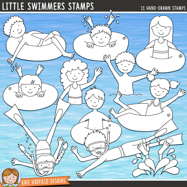 Outlined versions of my Little Swimmers doodles,this stamp pack contains the same doodles in three different formats: black outline png, black outline filled with white png (as shown in the preview) and a new bolder outline version for working on a smaller scale. Digital stamps are perfect for creating colouring sheets, cards and other hybrid projects as well as for stamping on your digital scrapbooking pages! Contains the following hand drawn stamps: 5 boys, 5 girls, 1 splashing feet.FOR PERSONAL & EDUCATIONAL USE (please see myTerms of Usefor more information)