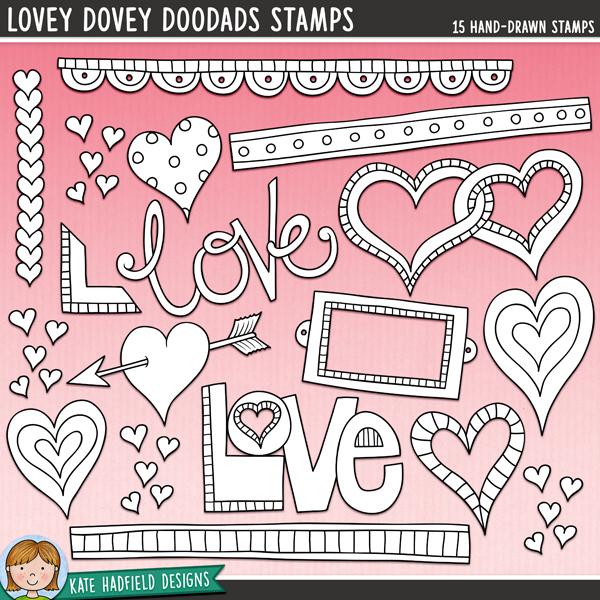 Outline versions of my Lovey Dovey Doodads doodles, this stamp pack contains the same doodles in three different formats: black outline png, black outline filled with white png (as shown in the preview) and a new bolder outline version for working on a smaller scale. Digital stamps are perfect for creating colouring sheets, cards and other hybrid projects as well as for stamping on your digital scrapbooking pages!	A collection of lovey dovey bits and pieces that are perfect for adding a romantic touch of hand drawn whimsy to your pages and projects! Contains: arrow heart, bookplate, 3 doodle strips, entwined hearts, 4 other hearts, 2 'love' wordart pieces, book corner, row of hearts and cluster of tiny hearts.FOR PERSONAL & EDUCATIONAL USE (please see my Terms of Use for more information)