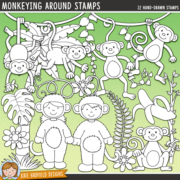 Outline versions of my Monkeying Around doodles, this stamp pack contains the same doodles in three different formats: black outline png, black outline filled with white png (as shown in the preview) and a new bolder outline version for working on a smaller scale. Digital stamps are perfect for creating colouring sheets, cards and other hybrid projects as well as for stamping on your digital scrapbooking pages!	Inspired by a friend's daughter's Halloween costume, Monkeying Around is fun-filled doodle pack packed with cheeky monkeys! Perfect for scrapping the antics of little monkeys in your life, zoo trips and safari photos Monkeying Around contains the following hand drawn doodles: arrow, heart, peeled banana, bunch of bananas, tree branch, 3 flowers, 2 leaves, 6 monkeys, boy and girl in monkey costumes, palm tree, 4 vines, 'monkey' wordart and the following wordy-bits: around, bananas, business, cheeky, lil', little, monkey, monkeying, monkeys, myFOR PERSONAL & EDUCATIONAL USE (please see my Terms of Use for more information)