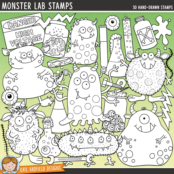 Outlined versions of my Monster Lab doodles, this stamp pack contains the same doodles in three different formats: black outline png, black outline filled with white png (as shown in the preview) and a new bolder outline version for working on a smaller scale. Digital stamps are perfect for creating colouring sheets, cards and other hybrid projects as well as for stamping on your digital scrapbooking pages!Contains the following hand drawn stamps: bolt, brain in jar, bubbles, danger sign, 2 eyeballs, eyeball flask, eyeball jar, 2 flasks, 2 bolts of lightning, 7 monsters, nut, petri dish, poison bottle, 2 scars, screw, slime trail, spanner, 2 gooey splats, stink lines and 2 test tubes.FOR PERSONAL & EDUCATIONAL USE (please see myTerms of Usefor more information)