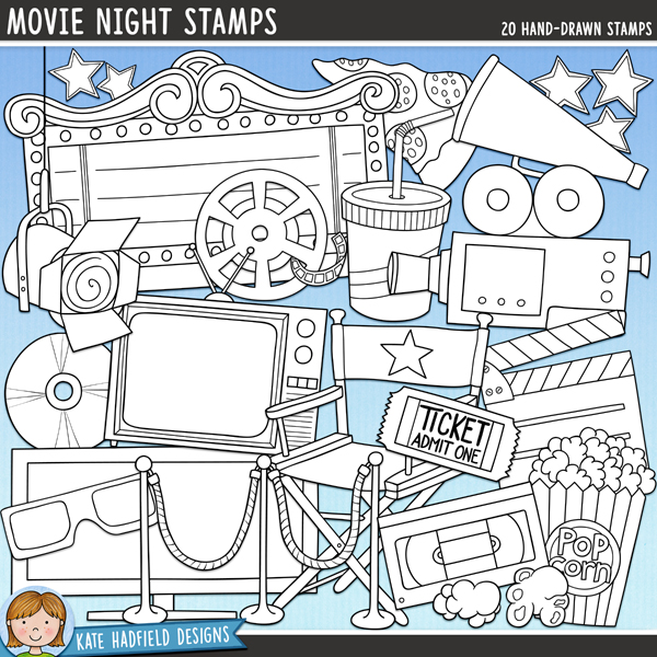 Outline versions of my Movie Night doodles, this stamp pack contains the same doodles in three different formats: black outline png, black outline filled with white png (as shown in the preview) and a new bolder outline version for working on a smaller scale. Digital stamps are perfect for creating colouring sheets, cards and other hybrid projects as well as for stamping on your digital scrapbooking pages!It's movie night! This fun collection of doodles is perfect for recording memories of those special date nights at the cinema or cosy family evenings at home in front of the TV (or even your child's play or recital performances and photos of your budding superstars in action!) Contains the following hand-drawn doodles: 3d glasses, film camera and tripod, theatre sign, clapperboard, director's chair and megaphone, drink, DVD, film reel, light, pizza slice, wide-screen TV, popcorn pieces and popcorn box, red carpet rope, stars, ticket, video cassette, old fashioned TV set and the following word-bits: date night, family time, movie night, now showing and star.FOR PERSONAL & EDUCATIONAL USE (please see myTerms of Usefor more information)